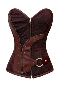 Brown Brocade Leather Work N Buckle Overbust Plus Size Corset Waist Training