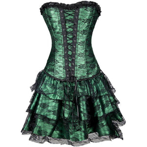 Green Satin with Skirt Gothic Burlesque Corset Waist Training Overbust Dress