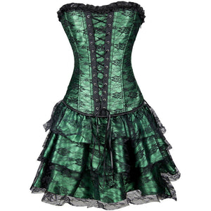 Plus Size Green Satin with Skirt Gothic Waist Training Overbust Corset Dress