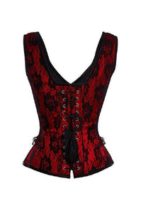 Red Satin Net Covered Shoulder Strap Gothic Burlesque Corset Overbust