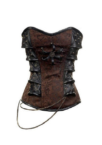 Brown Brocade with Leather Patches Steampunk Corset Waist Training Overbust Gothic Top