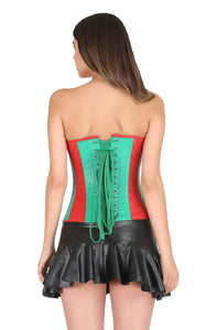 Red Green Faux Leather Gothic Steampunk Corset Waist Training Bustier Black Tutu Skirt Overbust Dress-