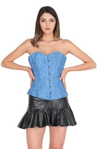 Blue Faux Leather Steampunk Plus Size Corset Waist Training Gothic Costume Bustier Top