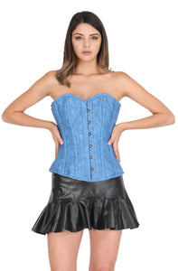 Blue Faux Leather Gothic Corset Steampunk Waist Training Bustier Black Tutu Skirt Overbust Dress-