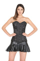 Plus Size Black Satin Burlesque LONG Overbust Corset Waist Trainer Bustier Leather Tutu Skirt Dress