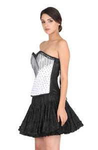 White Satin Black Handmade Sequins Corset Gothic Burlesque Waist Cincher Bustier Overbust Black Cotton Silk Tutu Skirt Dress-