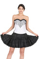 Plus Size White Satin Black Handmade Sequins Gothic Overbust Corset With Black Cotton Silk Tutu Skirt Dress