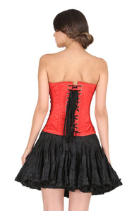Plus Size Red Satin Black Handmade Sequins Gothic Overbust Corset With Black Cotton Silk Tutu Skirt Dress