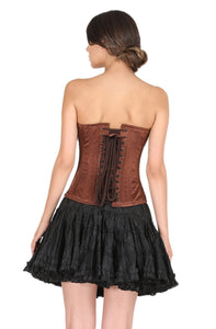Plus Size Brown Satin Sequins Handwork Overbust Corset With Black Cotton Silk Tutu Skirt Burlesque Costume Dress
