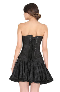 Black Satin Sequins Handwork Gothic Corset Burlesque Waist Cincher Bustier Overbust Dress-