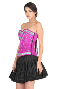 Purple Satin with Threadwork Gothic Corset Burlesque Waist Cincher Bustier Overbust Dress-