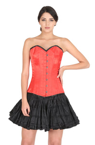Plus Size Red Satin Black Piping Overbust Corset Gothic Burlesque Costume Waist Training LONG Top