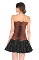Brown Satin Front Seal Lock Gothic Overbust Plus Size Corset Waist Training LONG Top Burlesque Costume
