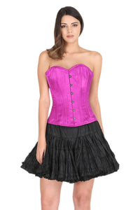 Purple Satin Corset Spiral Boned Gothic Burlesque Bustier Waist Training Overbust Dress-
