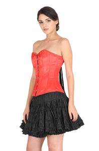 Red Satin Corset Gothic Burlesque Bustier Waist Training Overbust Costume Black Cotton Silk Tutu Skirt Dress-