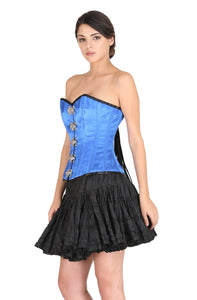 Blue Satin Front Seal Lock Gothic Corset Steampunk Bustier Waist Training Overbust Costume Black Cotton Silk Tutu Skirt Dress-