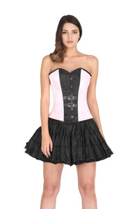 Pink And Black Satin Leather Belt Plus Size Overbust Corset Waist Training With Black Cotton Silk Tutu Skirt Corset Dress