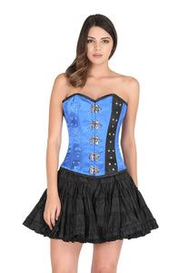 Blue Black Satin Corset Silver Seal Locks Waist Training Bustier Overbust Top Black Cotton Silk Tutu Skirt Dress-