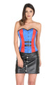 Plus Size Red and Blue Satin Gothic Overbust Corset Waist Training With Black Leather Skirt Burlesque Costume