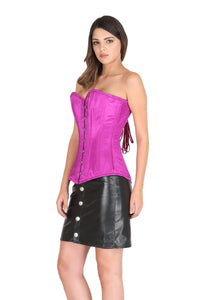 Purple Satin Corset Spiral Steel Boned Waist Training Bustier LONGLINE Overbust Black Leather Skirt Dress-
