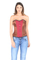 Brown Satin Red Lining Cotton Gothic Plus Size Overbust Corset Waist Cincher Burlesque Costume