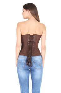 Brown Brocade Wood Beads Work Zipper Plus Size Corset Waist Training Gothic Costume Overbust Bustier Top