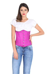 Purple Satin Spiral Steel Boned Gothic Corset Costume Burlesque Waist Training Underbust Bustier Top-