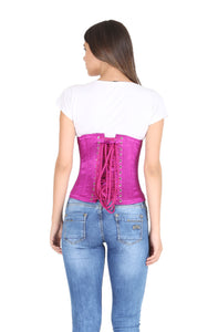 Purple Satin Gothic Burlesque Costume Plus Size Underbust Corset Waist Training Bustier Top