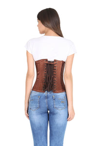 Brown Satin Gothic Burlesque Corset Costume Waist Training LONG Underbust Bustier Top-