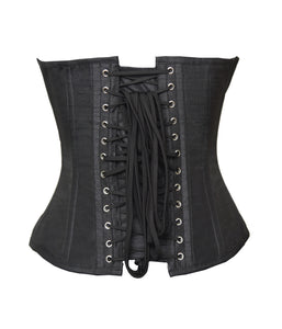 Plus SIze Black Silk Overbust Corset Waist Training Burlesque Costume