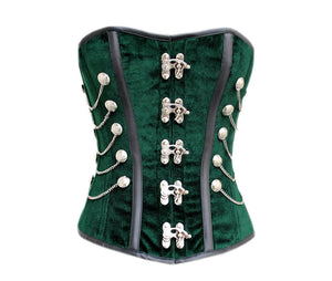 Green Velvet Faux Leather Strips Steampunk Corset Waist Training Overbust