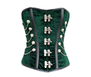 Green Velvet Black Strips Plus Size Gothic Steampunk Overbust Corset - CorsetsNmore