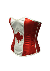 Canada Flag Red And White Satin Handwork Plus Size Overbust Corset Waist Training - CorsetsNmore
