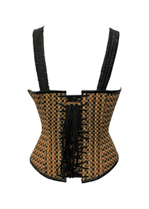 Cotton Jute And Black Leather Shoulder Strap Plus Size Overbust Corset - CorsetsNmore