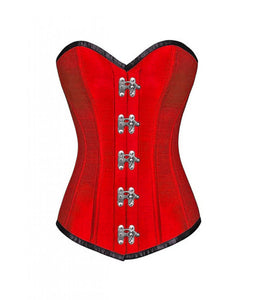 Christmas Red Corset Silk Seal Lock Gothic Steampunk LONGLINE Overbust Costume Dress