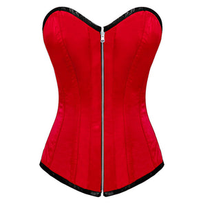 Red Satin Gothic Burlesque Corset Waist Training LONGLINE Overbust