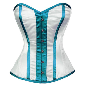White Satin Corset Baby Blue Stripes Gothic Waist Training Overbust Top