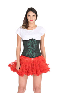 Green Black Brocade Burlesque Costume Plus Size Underbust Corset Waist Training Top