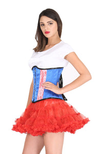 Blue and Red Satin White Net Gothic Plus Size Underbust Corset Burlesque Costume Waist Training Bustier Top - CorsetsNmore