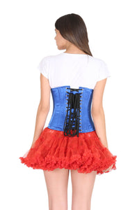 Blue Satin Corset Black Tissue Flocking Gothic Burlesque Costume Waist Training Underbust Bustier Top-