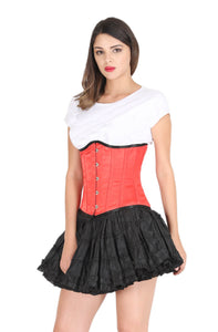 Red Satin Corset Gothic Burlesque Costume Waist Training Underbust Bustier Top-