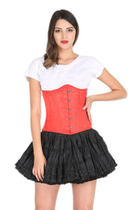 Red Satin Spiral Steel Boned Corset Gothic Burlesque Costume Waist Training Underbust Bustier Top