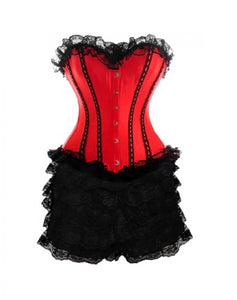 Red Satin Corset With Black Frill Tutu Skirt Gothic Burlesque Overbust Dress