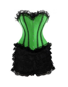 Burlesque Costume Satin Plus Size Overbust Corset With Black Frill Tutu Skirt Waist Training Dress - CorsetsNmore