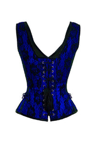 Blue Satin Corset Net Covered Shoulder Strap Gothic Waist Training Overbust Costume