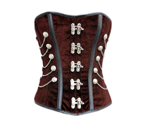 Plus Size Velvet Corset Black Faux Leather Strips Steampunk Costume Overbust - CorsetsNmore