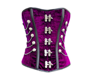 Purple Velvet Black Faux Leather Strips Gothic Corset Waist Training Overbust Costume