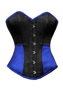 Black Blue Satin Corset Gothic Burlesque Waist Training Bustier Overbust Top - CorsetsNmore