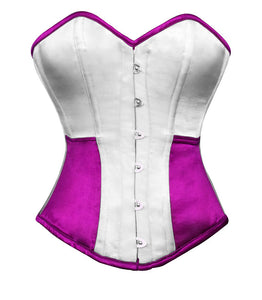 White Purple Satin Corset Gothic Burlesque Waist Training Bustier Overbust Costume