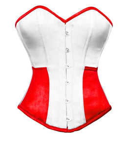 White Red Satin Corset Gothic Burlesque Waist Training Bustier Overbust Costume